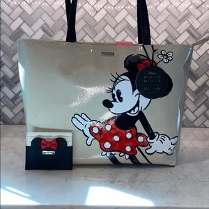 NWT! Kate spade minnie mouse tote and card holder